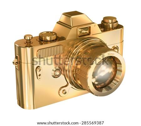 Gold photo camera on a white background - stock photo