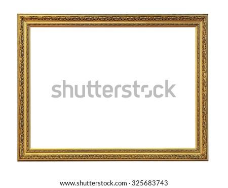 Gold Picture Frame Isolated Included Clipping Path - stock photo