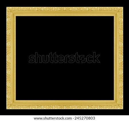 Gold picture Frame Isolated on black  Background - stock photo