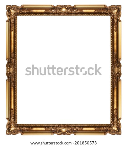 Gold  picture frame isolated on white background. - stock photo