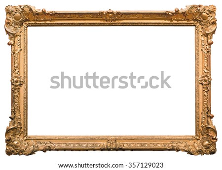 Gold picture frame. Isolated on white background - stock photo