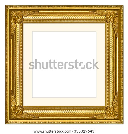 Gold picture frame,isolated on white background, with clipping path - stock photo