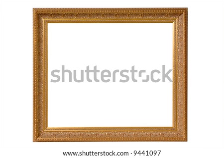 Gold Picture Frame on White - stock photo