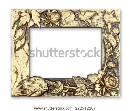 gold picture frame with a decorative pattern on white background - stock photo