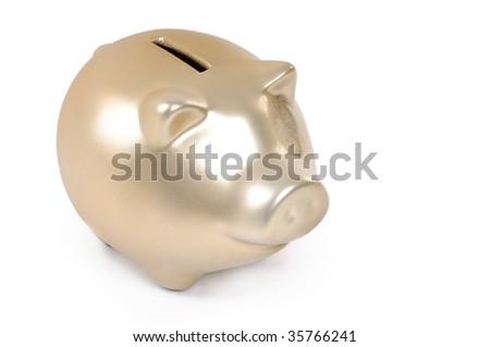 Gold piggy bank isolated on white background - stock photo