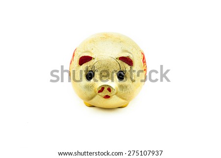 Gold piggy on white background with clipping path. - stock photo