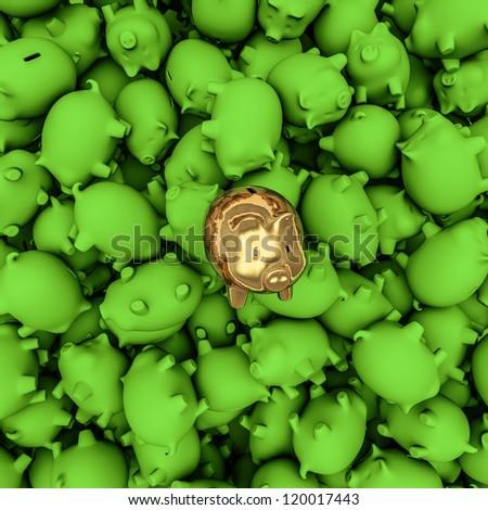 Gold piggybank among green ones - stock photo