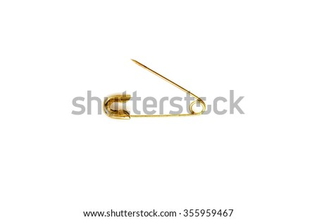 gold pin on a white background - stock photo