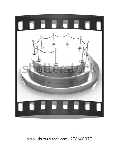 Gold podium 3d on a white background. The film strip - stock photo