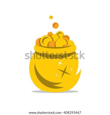 Gold Pot of Money Cartoon Illustration. Coins spilling the golden Pot. Branding Identity Corporate unusual Logo isolated on a white background - stock photo