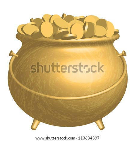 Gold pot with coins - stock photo