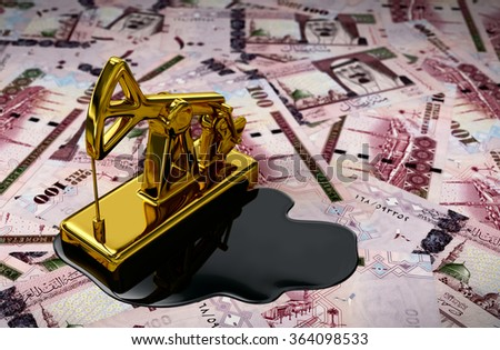 Gold Pumpjack And Spilled Oil On Saudi Riyals. 3D Scene. - stock photo