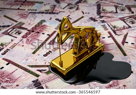 Gold Pumpjack And Spilled Oil Over Saudi Riyals. 3D Scene. - stock photo