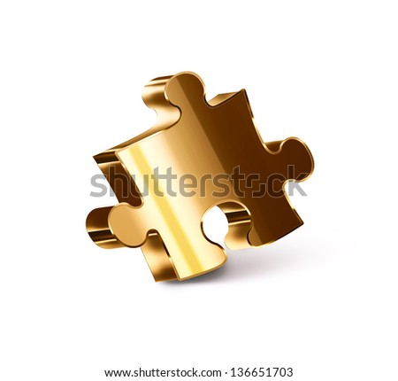 gold puzzle piece on a white background - stock photo