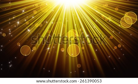 gold rays of light and shining stars. computer generated abstract background - stock photo