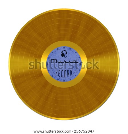 Gold Record, vinyl, shellac, LP - stock photo