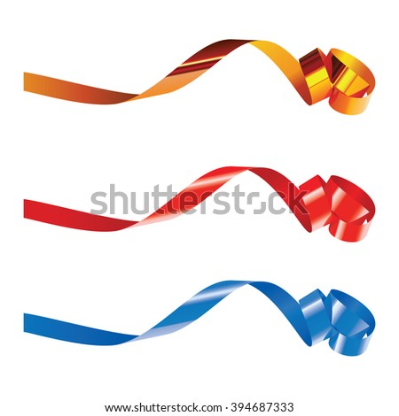 Gold, red and blue curling ribbons isolated on white for design. Isolated on white - stock photo