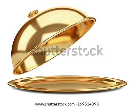 gold Restaurant cloche with open lid. 3d illustration isolated on a white background - stock photo