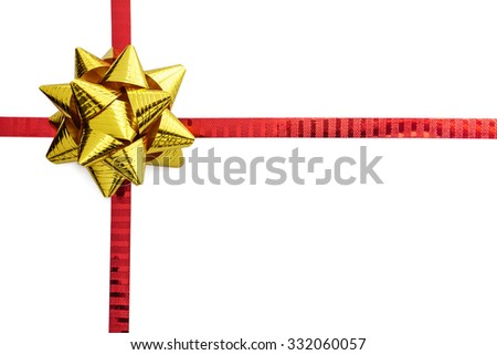 Gold ribbon bow on red ribbon isolated on white with space - stock photo