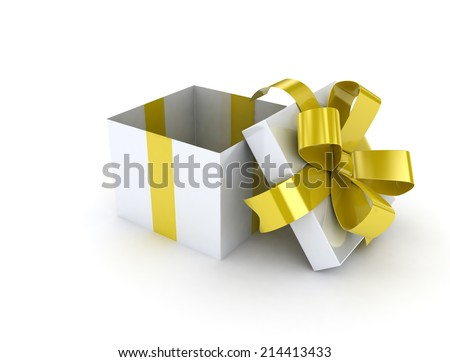 Gold ribbon open gift box on white background  - stock photo