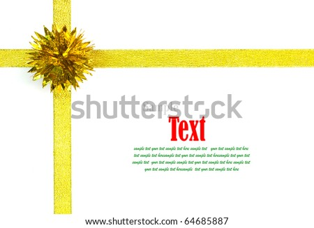 Gold ribbon with bow on white background with copy space. - stock photo