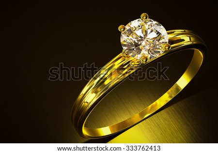 Gold ring with diamonds 3d rendering. - stock photo