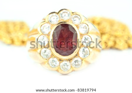 gold ring with gem - stock photo