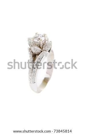 gold ring with gem on a white - stock photo