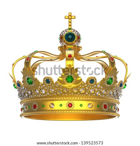 Gold Royal Crown with Jewels - stock photo