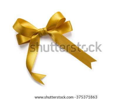 Gold Satin Bow Ribbon - stock photo