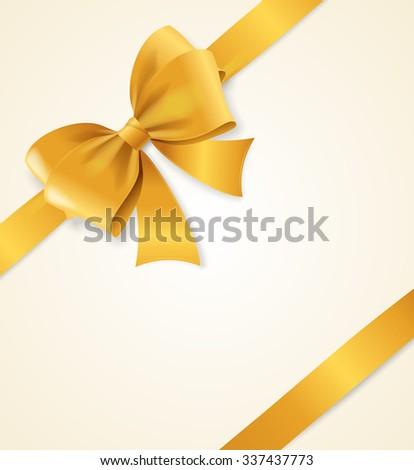 Gold Satin Ribbon. Luxury Design Element. illustration - stock photo