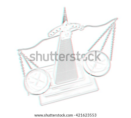 Gold scales of justice. Pencil drawing. 3D illustration. Anaglyph. View with red/cyan glasses to see in 3D. - stock photo