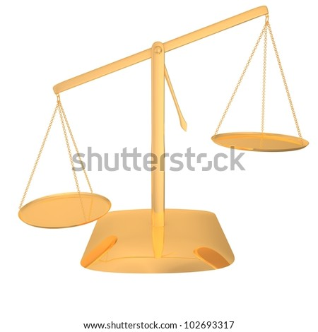 Gold scales on a white background - stock photo