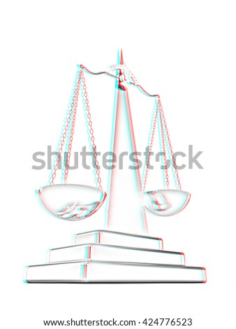 Gold scales on a white background. Pencil drawing. 3D illustration. Anaglyph. View with red/cyan glasses to see in 3D. - stock photo