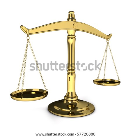 gold scales on the isolated background (3d) - stock photo