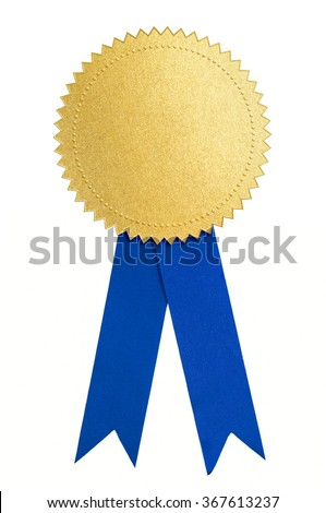 Gold seal or medal and blue ribbon isolated - stock photo