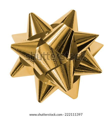 gold shiny gift bow isolated on the white - stock photo