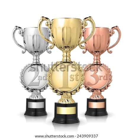 gold, silver and bronze award trophies isolated on white - stock photo