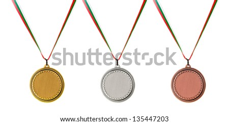 Gold, Silver and Bronze blank medals isolated on white - stock photo