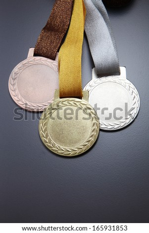 gold,silver and bronze medals - stock photo