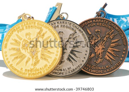 gold silver and bronze medals - stock photo