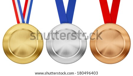 gold, silver, bronze medal set with different ribbons isolated on white - stock photo
