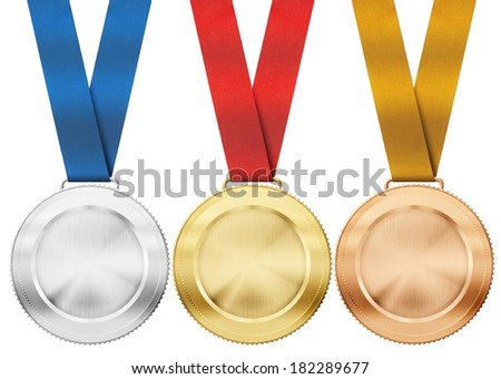 gold, silver, bronze medals with ribbon isolated on white - stock photo