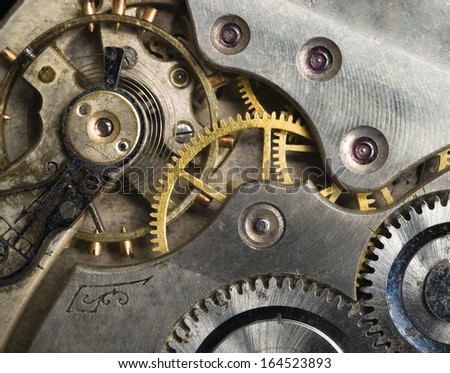 Gold Silver Precision Antique Vintage Pocket Watch Bodies Parts Gears - stock photo