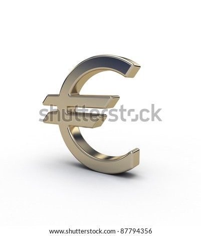 gold simbol euro on white background - stock photo