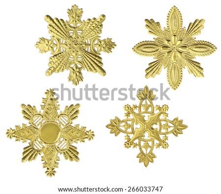 Gold Snowflakes - stock photo