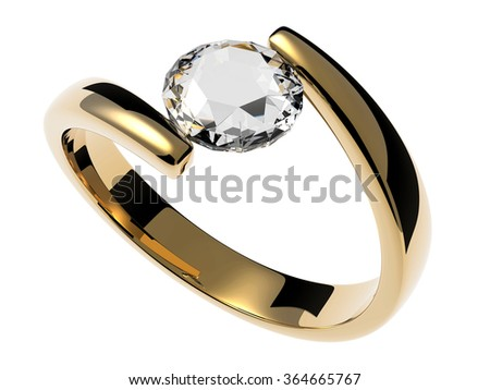 Gold solitaire ring with diamond stone - stock photo