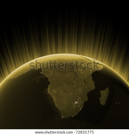 Gold South Africa. Maps from NASA imagery - stock photo
