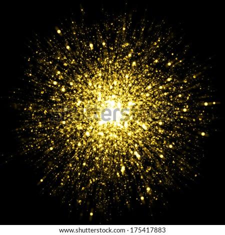 Gold sparkle glitter background. Glitter stars background - stock photo