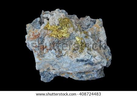 Gold specimen from Cavnic, Romania.  - stock photo